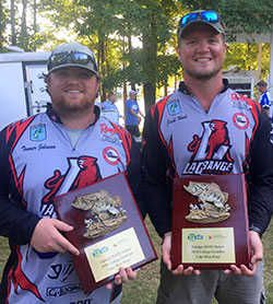 LaGrange College Bass Fishing Team with their awards